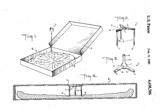 Patente americana da mesinha que protege a caixa de pizza (package saver)